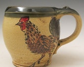 mug with Rooster handmade pottery