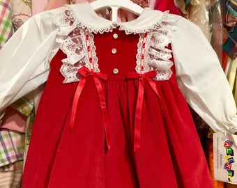 NOS Red Velvet Dress and Bloomers 6/9 Months