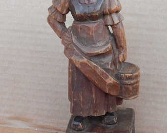 "Antique Hand Carved 7 "" Wood Carving"