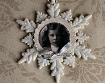 Miss Sparkle Snowflake Collage Ornament