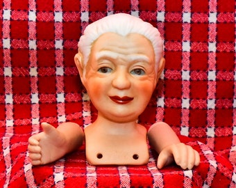 Mangelsen's 3-Piece  OLD WOMAN-Mrs Santa Doll Head & Hands for Cloth Doll Making