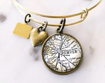 Denver Map Charm Bangle Bracelet - Personalized Map Jewelry - Colorado Love - Travel - Wanderlust - Stacked Bangle