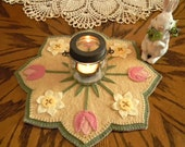 NEW***  Spring Blossoms Candle Mat Kit, Penny Rug Kit, Wool Felt Kit, Prim Wool Felt Kit, Merino Wool Candle Mat Kit,Spring Candle Mat Kit