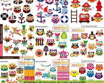 Owls clipart sale / cute owl clip art big mega bundle - digital images - commercial use, instant download
