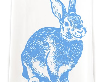 Blue Rabbit Flour Sack Kitchen Towel