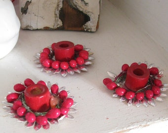 Holiday Lights..Vintage Christmas Berry Candle Holders