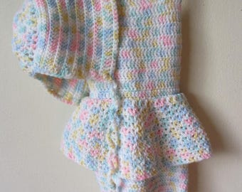 Pastel Rainbow Crochet Toddler 18mos- 3T Attached Skirt Romper with Matching Bonnet