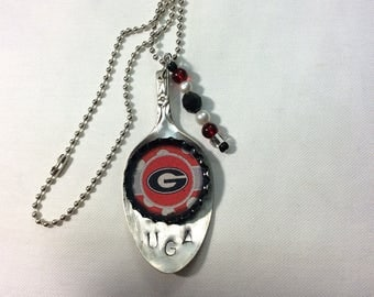 Spoon necklace, Georgia, UGA, pendant necklace
