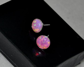 Pink Stud Earrings,  Lavender Earrings, Opal Earrings,  Pink Opal, Stud Earrings, Sterling Silver,  Opal Jewelry,  8mm Stone