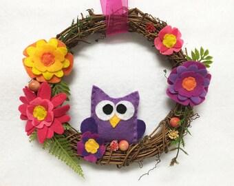 Owl Wreath, Summer Wreath, Spring Door hanger, Hostess Gift, Housewarming, Wall Art, Wall Hanging