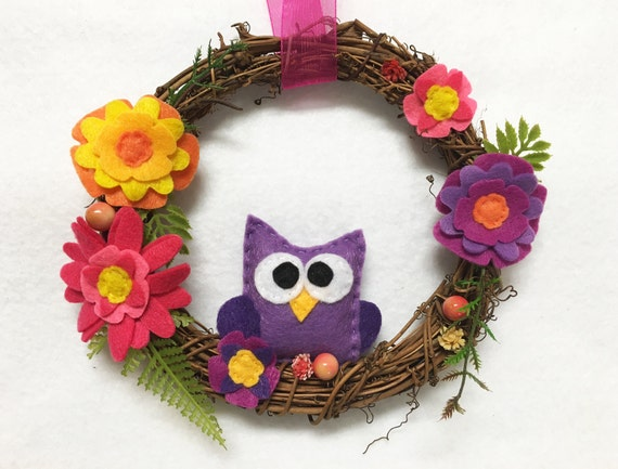 Owl Wreath, Summer Wreath, Spring Door hanger, Hostess Gift, Housewarming, Wall Art, Wall Hanging