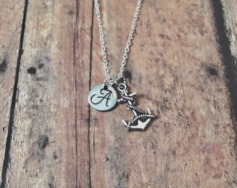 Anchor initial necklace - anchor jewelry, coast guard necklace, sailing jewelry, gift for sailor, silver anchor necklace, nautical jewelry