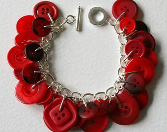 Button Bracelet Bright Ruby Red