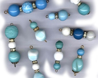 vintage glass bead findings or drops with rhinestone shades of white turquoise blue and oldness NINE ooak drops antique beads