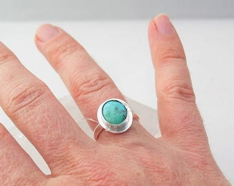 Earth Day Sale Turquoise Ring, Royston Turquoise, Jewelry, Sterling Silver Ring, Custom Jewelry, Made to Order, Choose Your Size