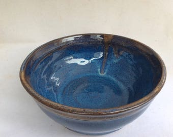handmade blue bowl - ceramic bowl-pottery serving bowl- handmade-  bowl-