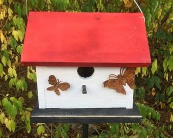White Primitive Birdhouse Rusty Butterflies