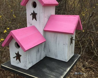 Primitive Country  Condo Birdhouse White and Green Pink Three Nesting Boxes