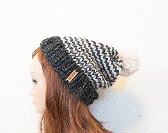 READY TO SHIP / Striped Slouchy Knit Hat with Pom Pom / Charcoal and White