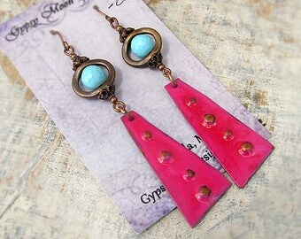 Turquoise Pink earrings - Colorful earrings - Hippie earrings - Boho jewelry - Bohemian jewelry