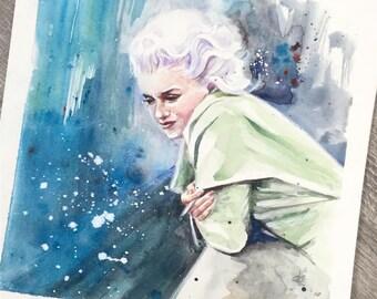 Marilyn Monroe smoking on the roof top original watercolour painting