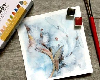 Milkweed Pod nature Watercolor painting