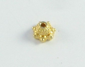 Bali Gold Vermeil Rope and Dots Bead Caps 7mm, Gold Bead Caps, Gold over Sterling Silver (4 beads)