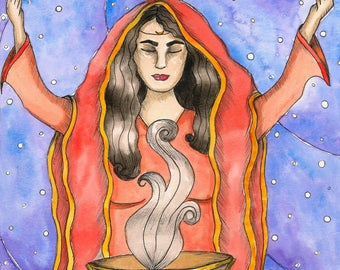 Priestess Goddess Oracle Art Original Watercolor Painting Fantasy Art Mystical Art Divine Feminine Sacred Spiritual Art Pagan Mythology