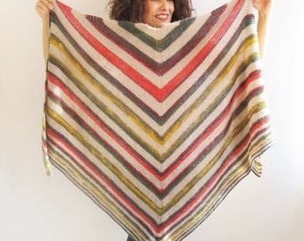 WINTER SALE Earth Tones Color Mohair Triangle Shawl by Afra