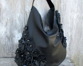 RESERVED for Erin Black Perforated Leather Hobo with Leather Flowers by Stacy Leigh