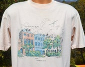 80s vintage t-shirt CHARLESTON rainbow row travel sc preppy tee shirt XL Large