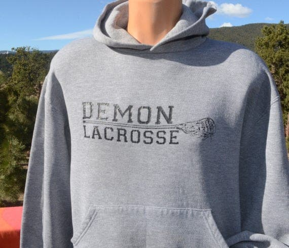 80s vintage hoodie sweatshirt DEMON LACROSSE high school regulate Medium Small heathered gray hoody