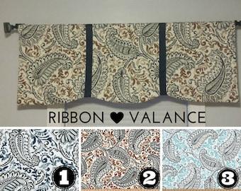 Ribbon Accent Curved Window Valance - Window Topper - Kitchen - Bedroom - Nursery - Bath - Indigo Caramel Aqua Paisley Blue White Navy
