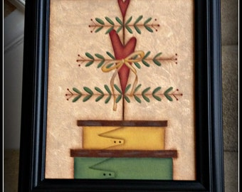 Primitive Stacking Boxes 8 x 10 Framed Canvas-Valentine Heart Tree