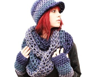 SET The Favorite Cowl Hood scarf Fingerless Glove vegan canadian ball cap Hat sailors storm teal grey