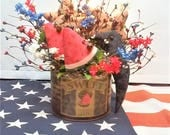 Primitive Americana Arrangement / Watermelon Arrangement / Black Crow Arrangement / Country Sweet Watermelon Arrangement