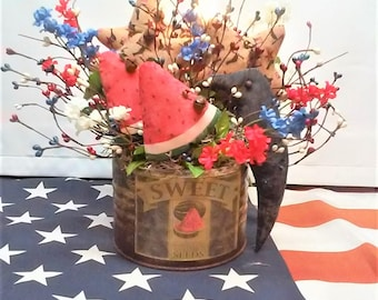 Primitive Americana Arrangement / Watermelon Arrangement / Black Crow Arrangement / Country Sweet Watermelon Arrangement