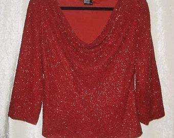 Vintage Laurence Kazar Red Silk, Beaded, 3/4 Sleeve, Cowl Neck Top, SZL