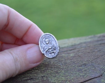 fertility talisman - sterling silver cast medal ring, patron saint - size 6.75 to 7