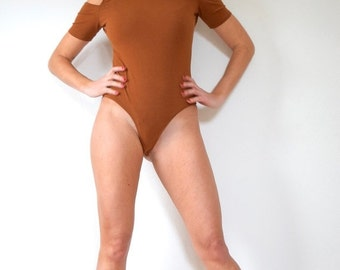 FLASH SALE / 20% off Vintage 80s 90s Rust Brown Mock Turtleneck Shoulderless Thong Leotard (size medium, large)