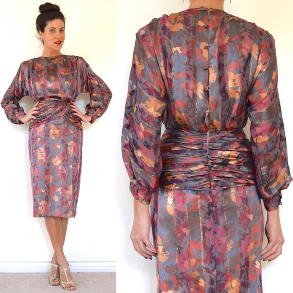 Vintage 80s 90s Autumn Garden Abstract Floral Silk Hourglass Silhouette Pencil Dress with Dolman Sleeves (size xs, small)
