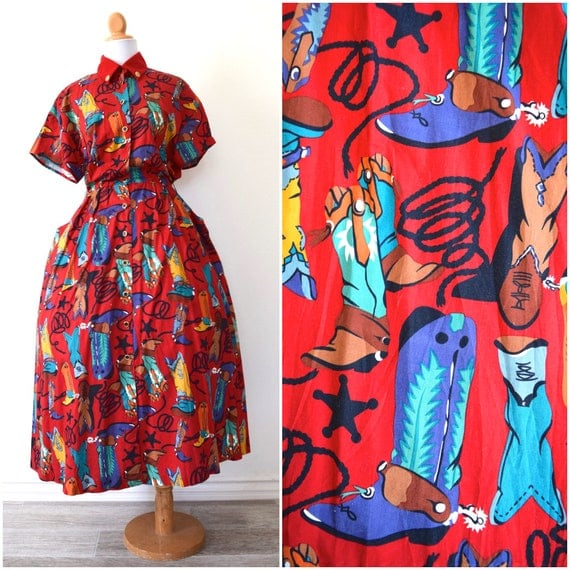 Vintage 80s Dosey Doe Cowboy Boots Full Skirt Cotton Shirt Dress (size small, medium)