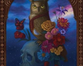 Owl Skull Night Animal Painting Memento Mori Art Original Illustration Whimsical Nature Ornate Decorative
