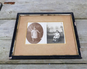 Vintage 1920s French photo frame  black & gilted wooden Napoleon III frame/ girls