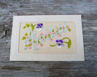 Vintage Antique 1900/1910 French  postcard  hand embroidered organdi fabric  pansys Amitié /Friendship