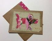 Scrappy Fabric Dog Thank You Blank Card FREE USA Shipping