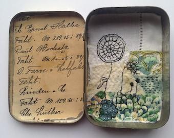 Original Mixed Media Textile Art - secret garden