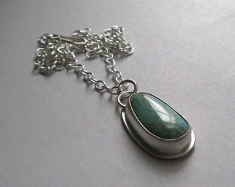 American Number Eight Turquoise and Sterling Silver Necklace Pendant