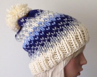 Chunky Knit Hat Vegan Pom Pom Hat Fair Isle Women's Beanie Ski Hat Chunky Hat Blue Gray Cream
