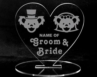 Grateful Dead Wedding Cake Topper Center Piece Place Setting Dancing Bears Bride and Groom